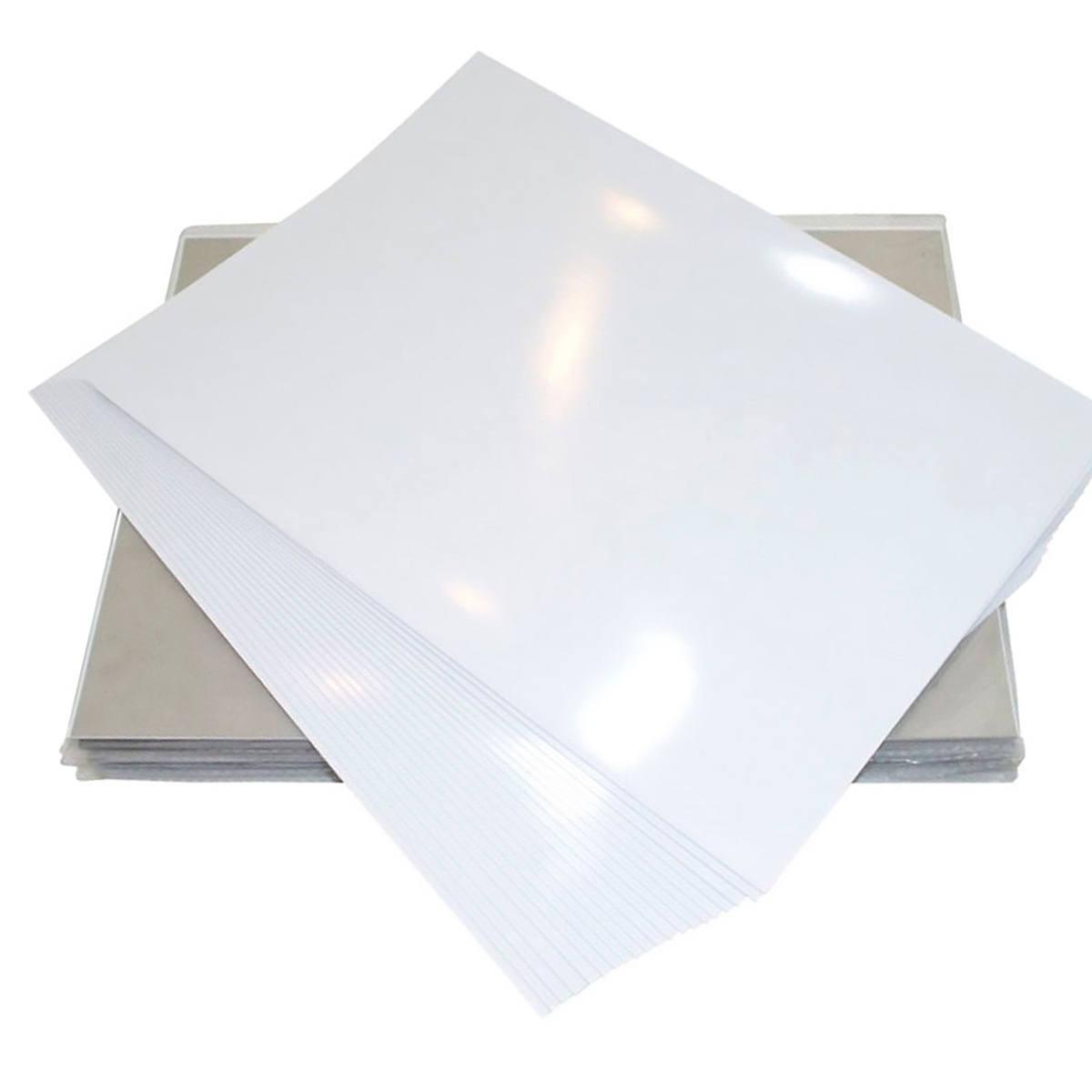 Filme Adesivo Branco Glossy à prova d'água 135g A4 210mmx297mm com Brilho / 10 folhas