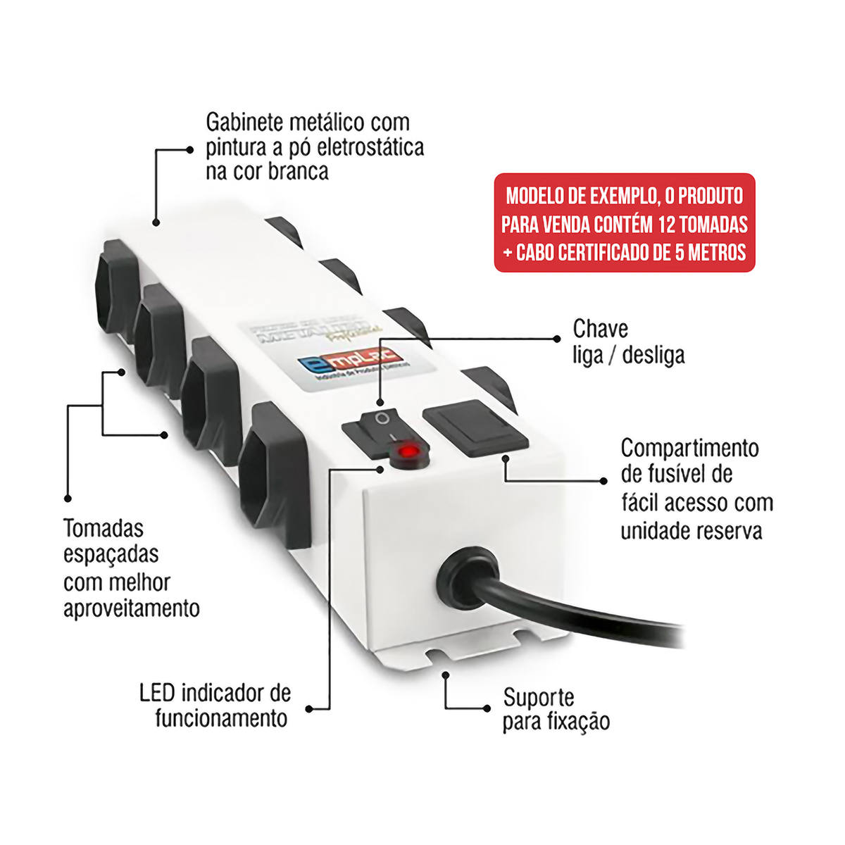 Filtro de Linha 12 Tomadas 10A Metálico Profissional Bivolt Cabo de 5 metros Régua de Energia Emplac F50105