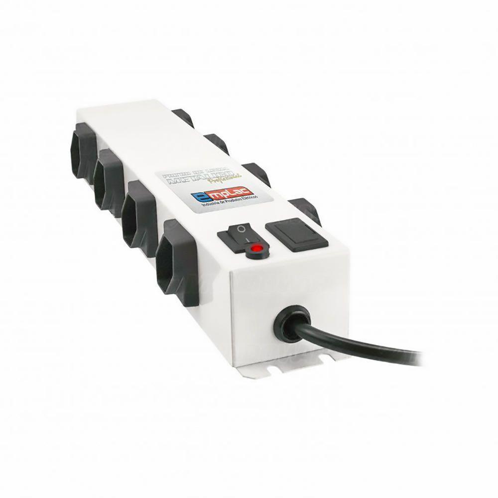 Filtro de Linha Metálico Profissional Bivolt 10A com 8 Tomadas Espaçadas Cabo 1 metro Régua de Energia Emplac F50100