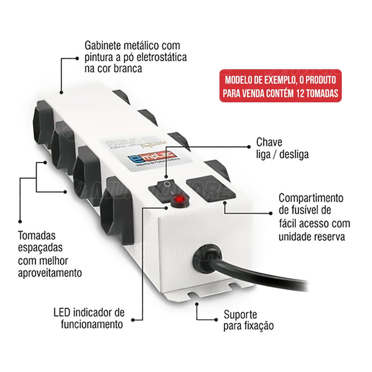 Filtro de Linha Metálico Protetor Eletrônico Profissional Bivolt 12 Tomadas 10A Cabo de 1 metro Emplac F50103