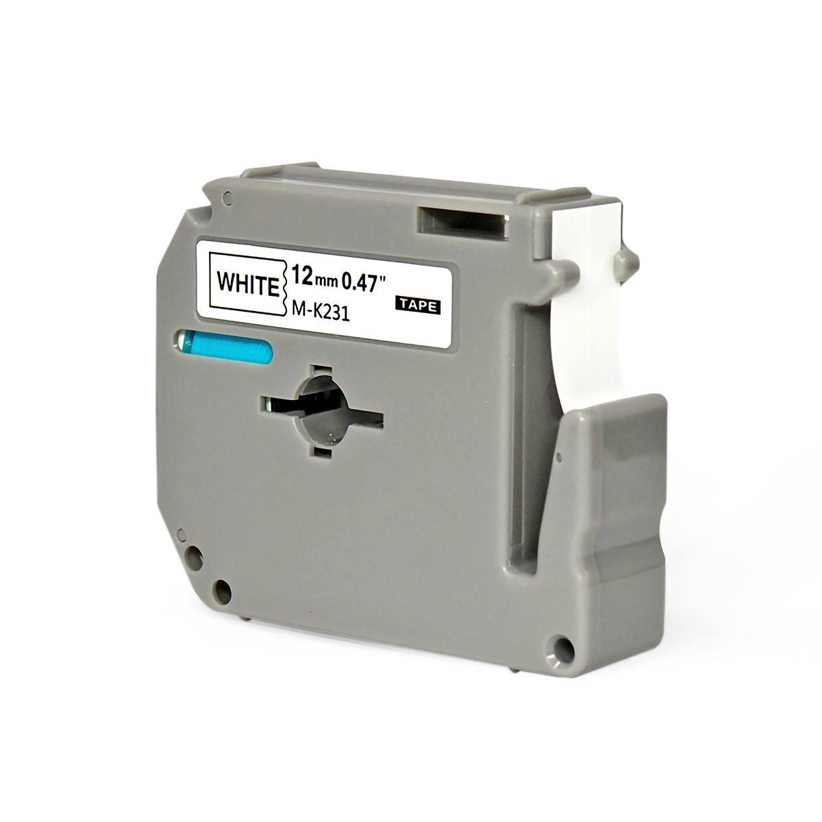 Fita Compatível para Rotulador 12mm x 8m Branco/Preto Marca X-Full Referência M-K231 M231 MK231 para Brother PT-80 PT-70
