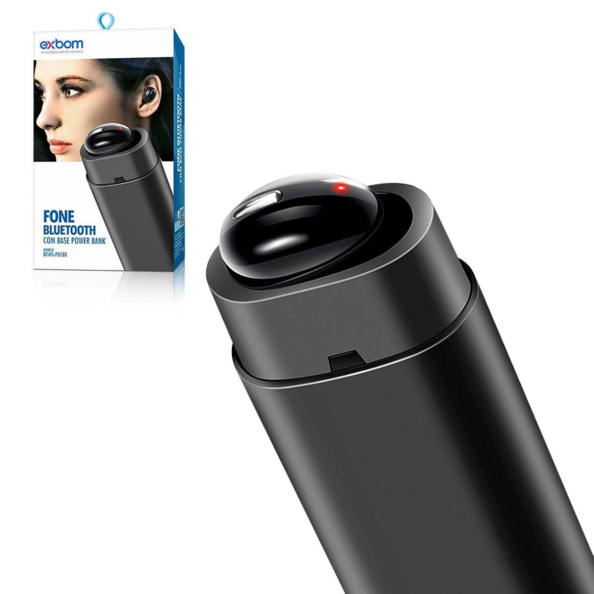 Fone Bluetooth com Base Power Bank para Carregamento Inpods Earbuds 2 em 1 Exbom BTWS-PBS80