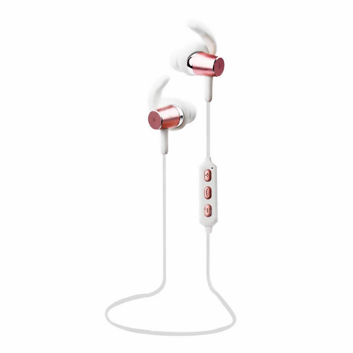Fone Bluetooth Sport Earphone Intra-Auricular com Microfone e Controle para Chamadas FB-BT1 Branco com Rose