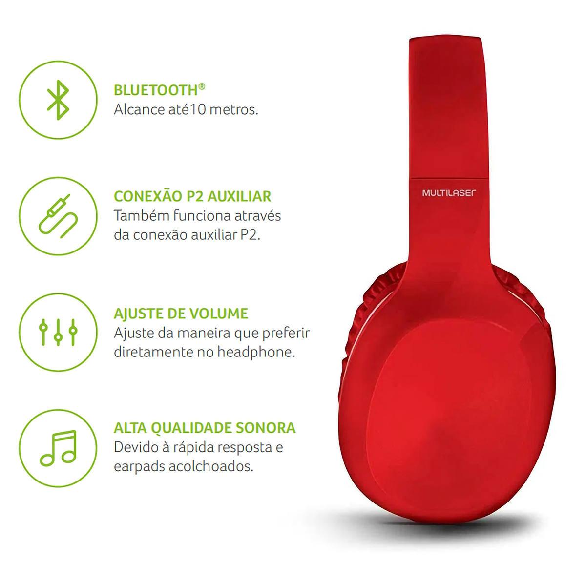 Fone de Ouvido Pop Bluetooth com Microfone Hands Free Earpads Extra Macios Acolchoados Multilaser PH248 Vermelho