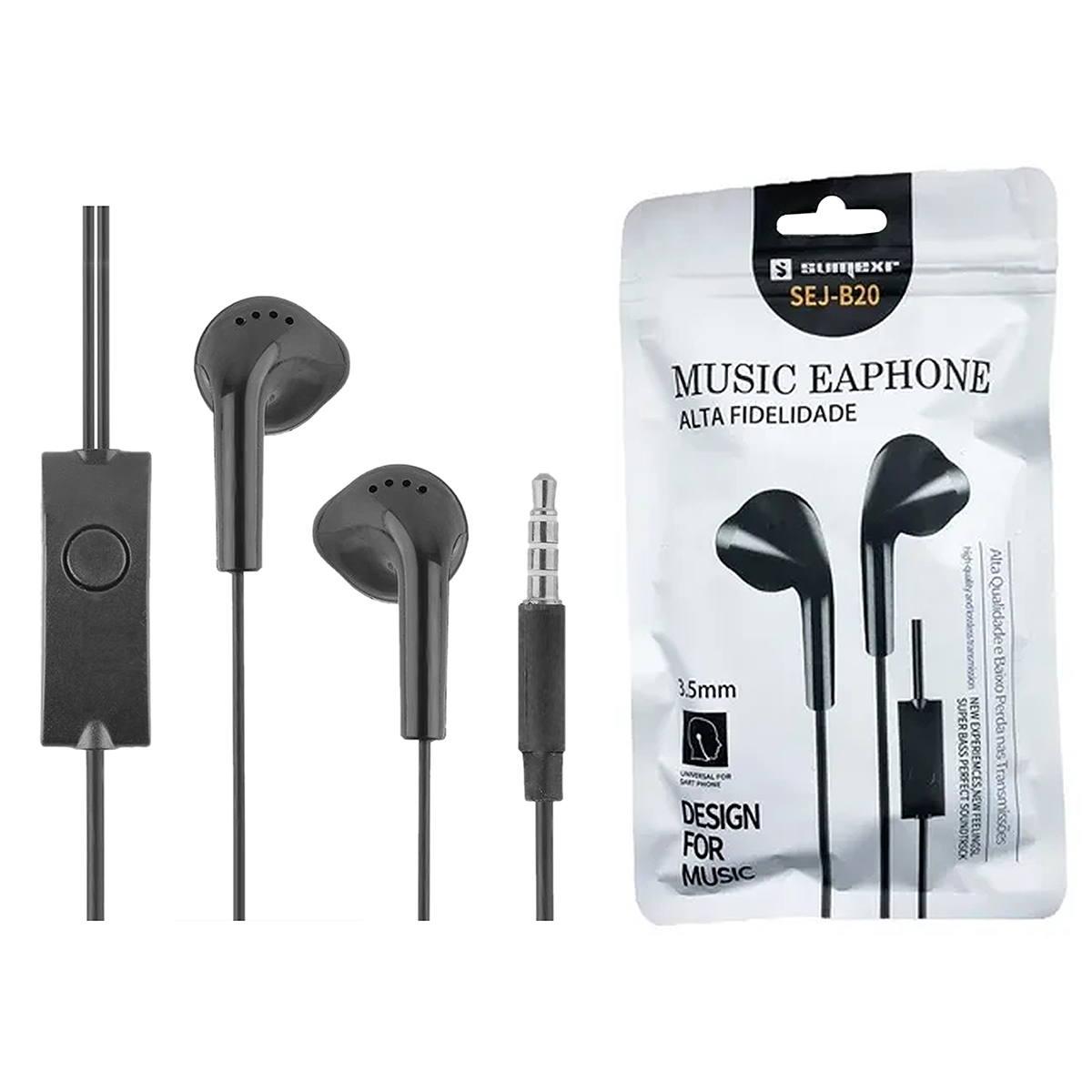 Fone P2 para Celular Earphone Estéreo com Microfone para Atender Chamadas Sumexr SEJ-B20 Preto