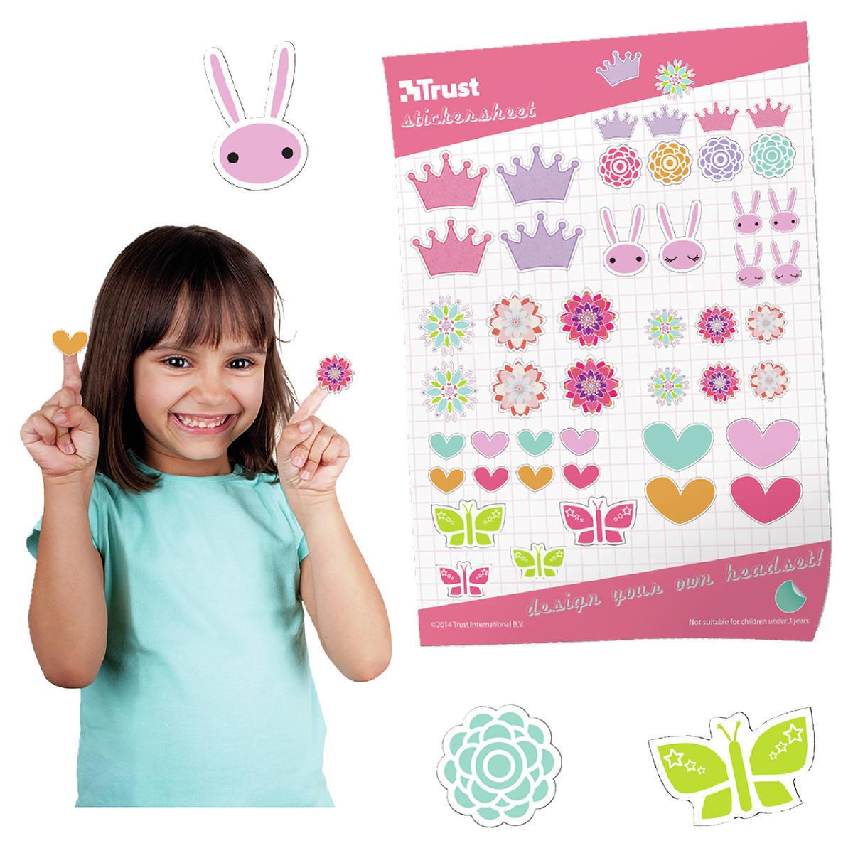 Fone para Criança com Limite de Volume Protege a Audição com Adesivos para Personalizar Trust Sonin Kids Headphone Pink