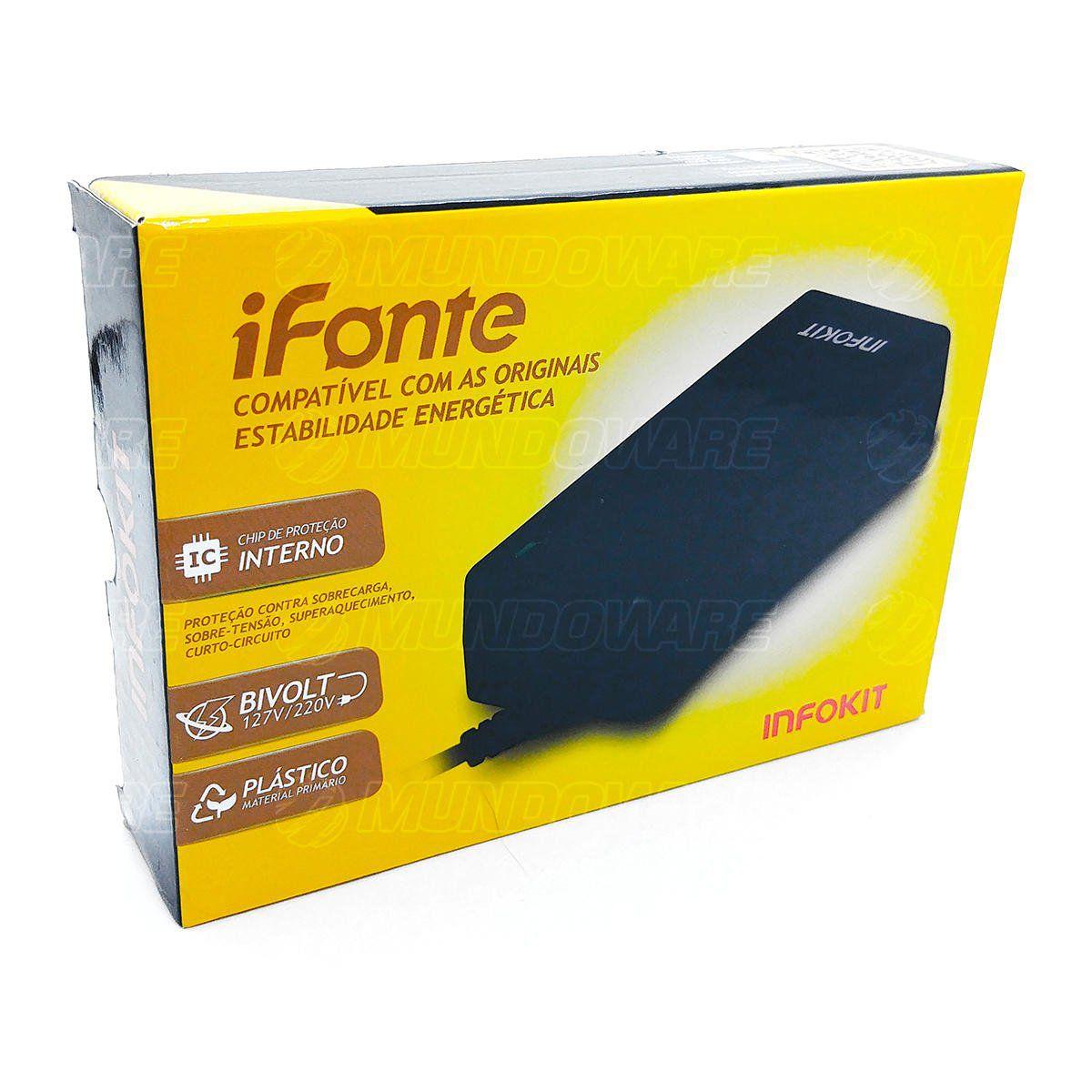 Fonte para Notebook iFonte H-01 Compatível para HP 65W 18.5V 3.5A Bivolt Conector 7.4 x 5.0mm Pino Agulha