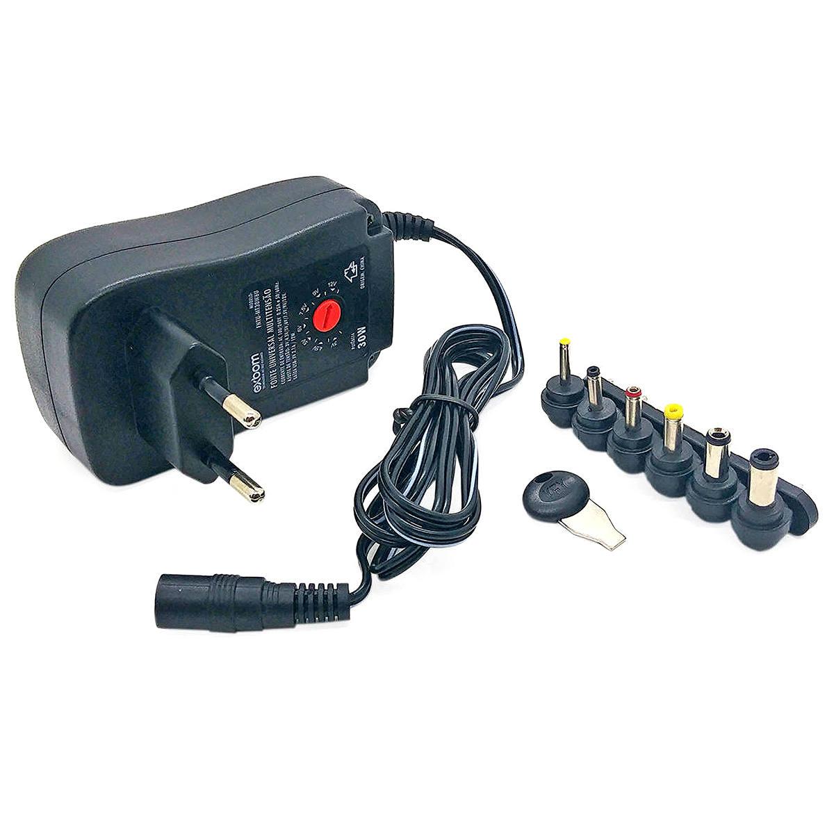 Fonte Universal Multi-tensão 30W Bivolt 6 Plugues 7 Ajustes de Tensão e Saída USB Exbom Carregador FNTU-MT30W6U