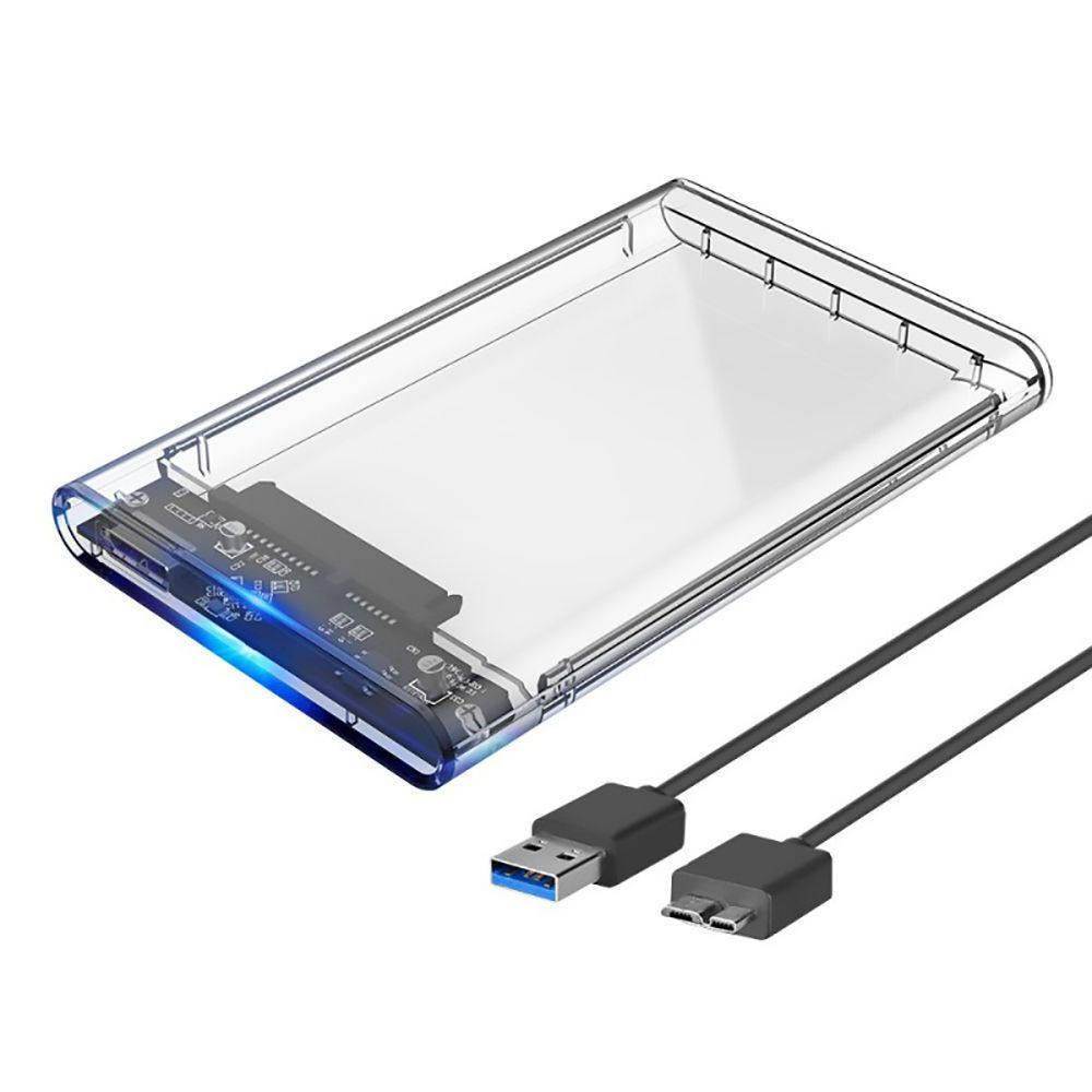 """Gaveta para HD Externo USB 3.0 para SATA SSD 2.5"""" Case Resistente e Transparente com Capa de Proteção Infokit Ecase-320"""