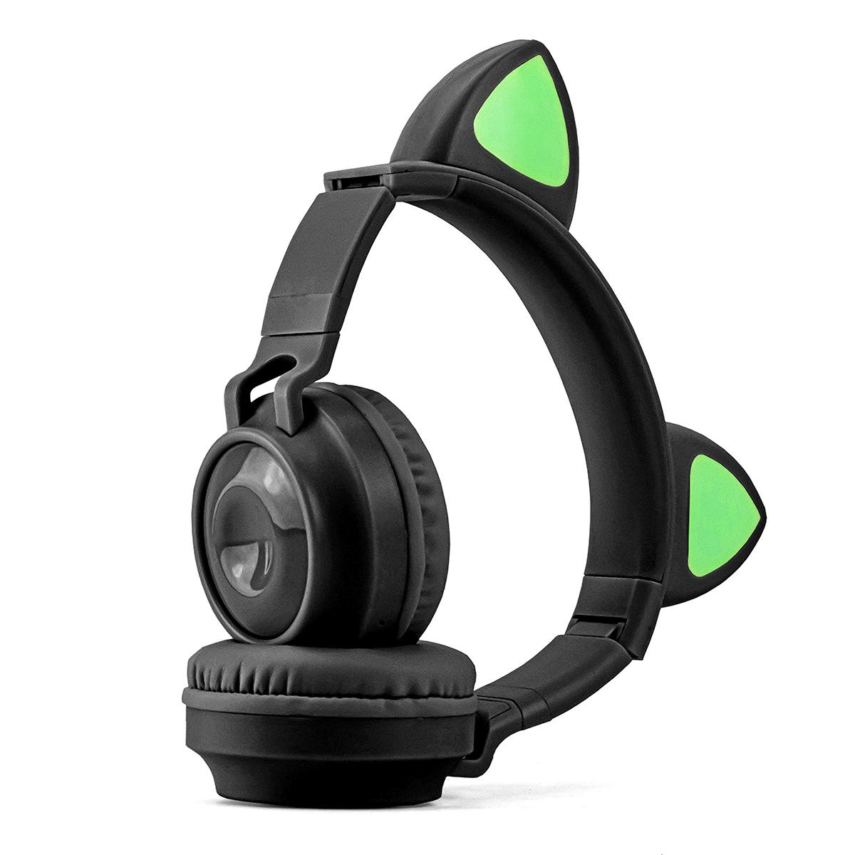 Headphone com Orelhas de Gatinho em LED 8 Cores Bluetooth 5.0 Dobrável Microfone Embutido Exbom HF-C290BT Preto
