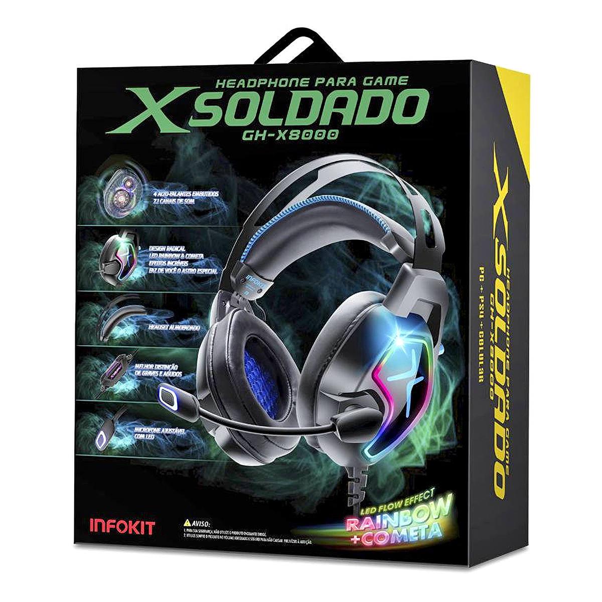 Headphone Gamer 4 Alto-falantes 7.1 Surround Super Bass Quadriplo Microfone Anti-Ruído p/ PC PS4 Celular XSoldado X8000