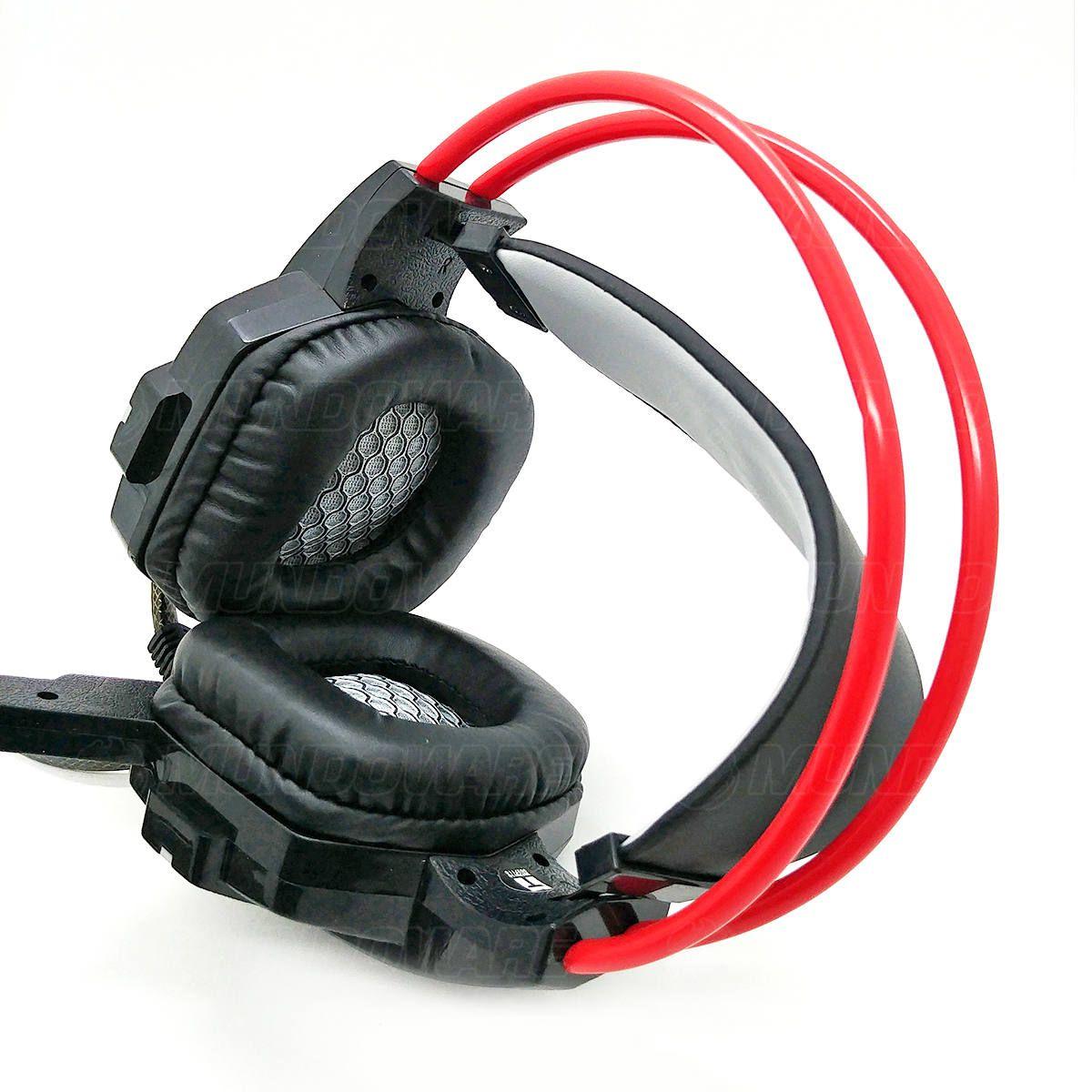 Headphone Gamer com Microfone Iluminação LED 7 Cores Cabo Reforçado Fone com Isolamento Acústico Infokit GH-X20