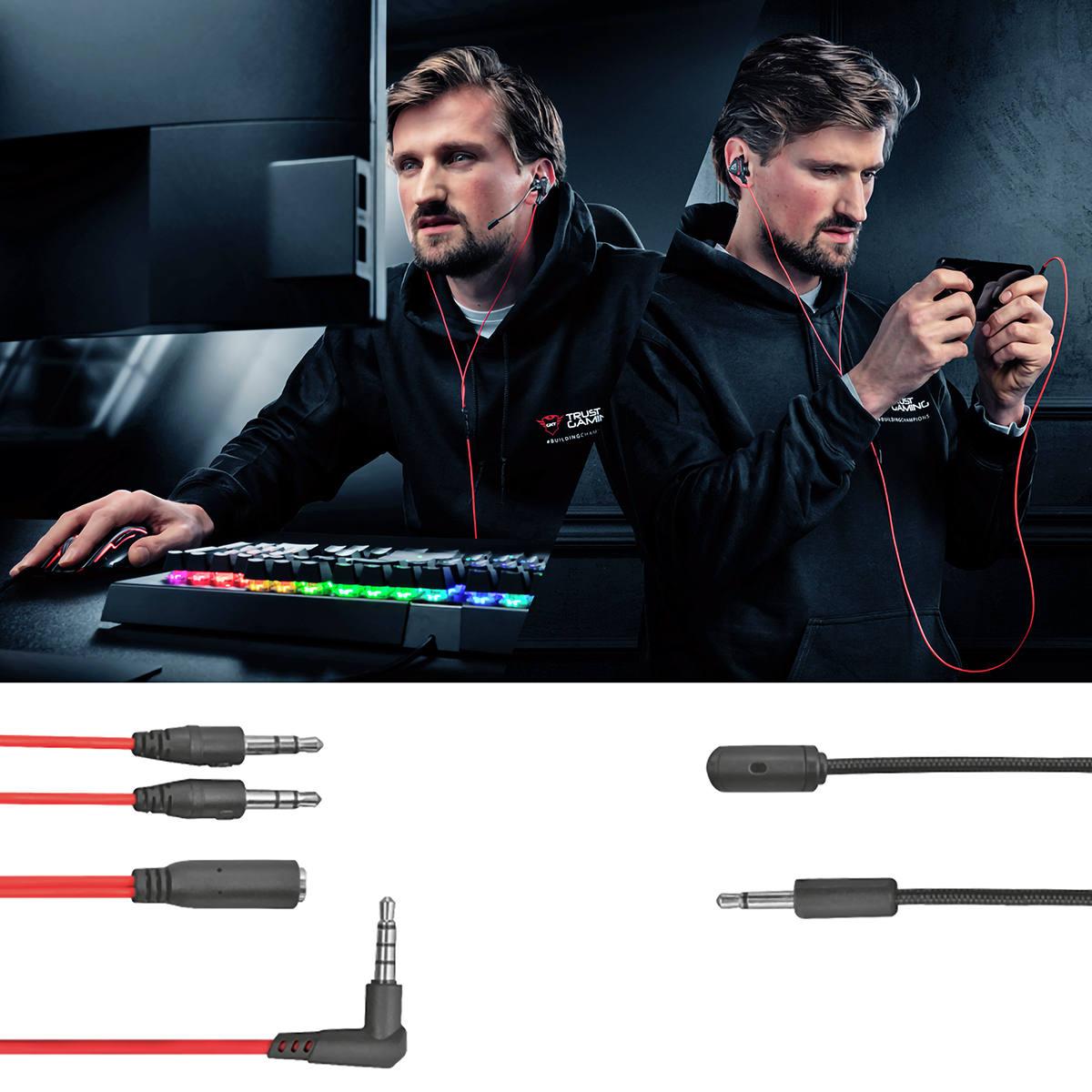 Headset Earphones Gaming Cobra GXT 408 Multiplataforma Microfones Duplos e Boom Destacável Projetado para Jogos Trust