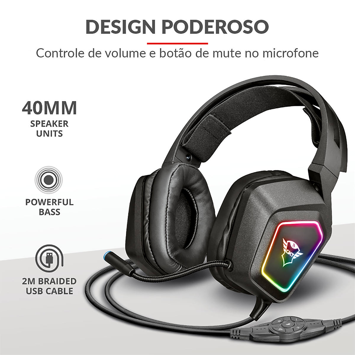 Headset Gamer 7.1 Surround Alta Fidelidade Sonora e Graves Potentes RGB Trust Blizz GXT-450 Gaming