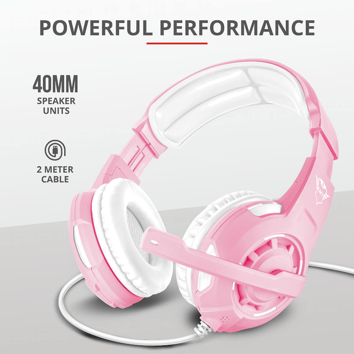 Headset Gamer GXT Radius com Fio para PC PS4 Xbox One Switch Celular Mic Ajustável e Som Potente Trust GXT-310P Pink
