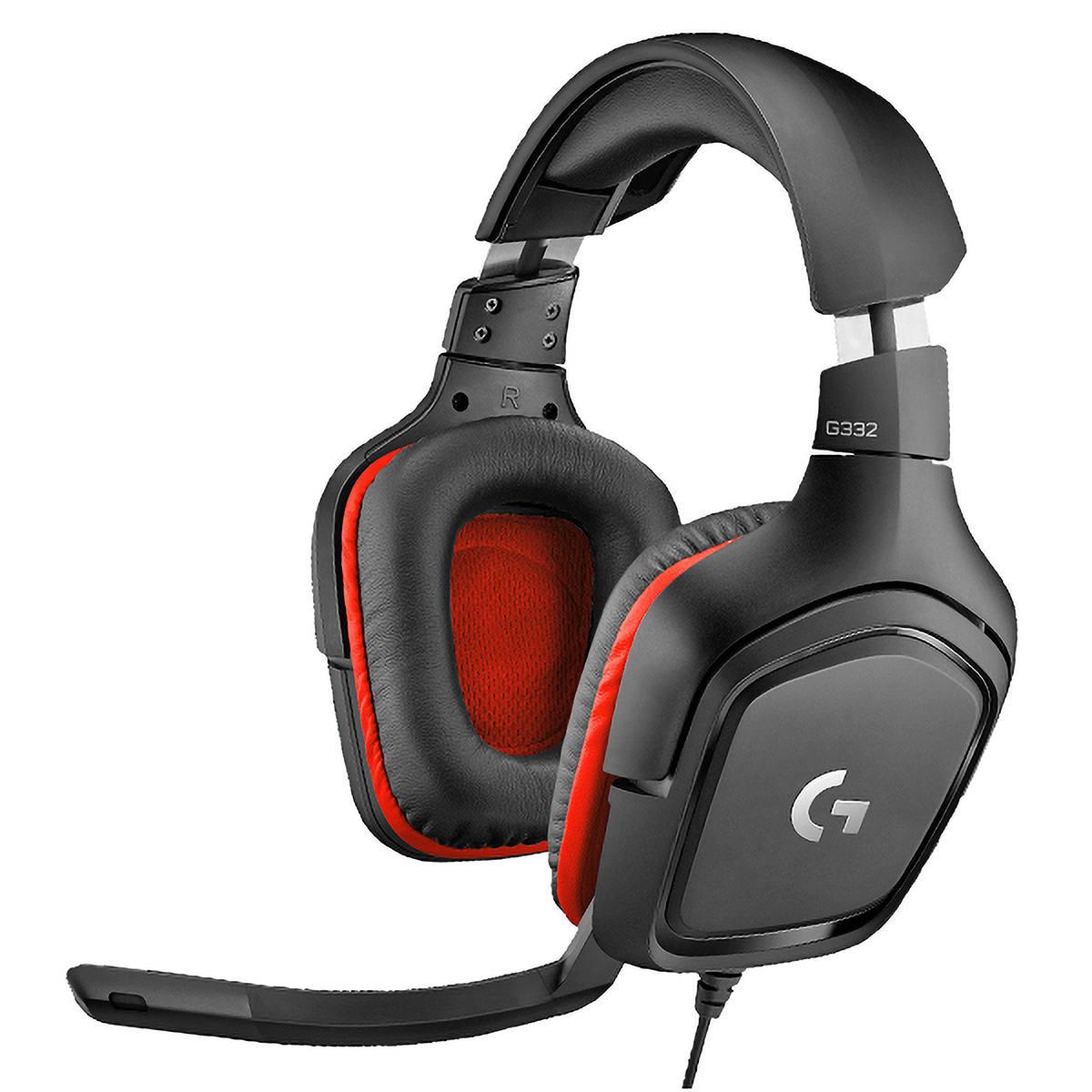 Headset Gamer Logitech G332 Preto/Vermelho Fone Multiplataforma para PC PlayStation Xbox Switch 981-000755