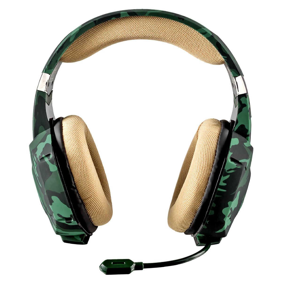 Headset Gaming Carus Multiplataforma Som Potente Drivers 50mm Cabo 2 metros Trust GXT 322C Jungle Camo Camuflado