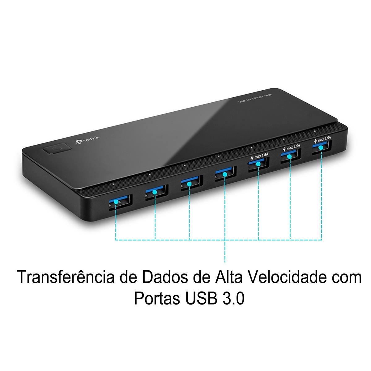 Hub USB 7 Portas USB 3.0 de Alta Velocidade com Fonte de Energia Externa TP-Link UH700