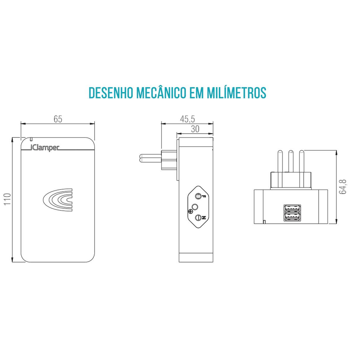 iClamper Energia 3 + 2 Portas USB Proteção Total contra Surtos Elétricos DPS Clamper Transparente