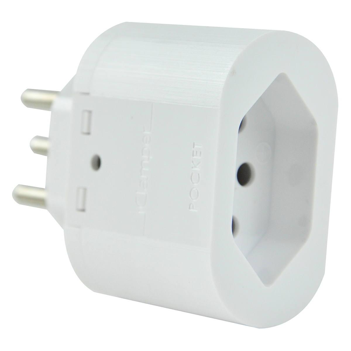 iClamper Pocket 3P 10A Proteção contra Surtos Elétricos para Eletroeletrônicos DPS Clamper Portátil 3 Pinos Branco