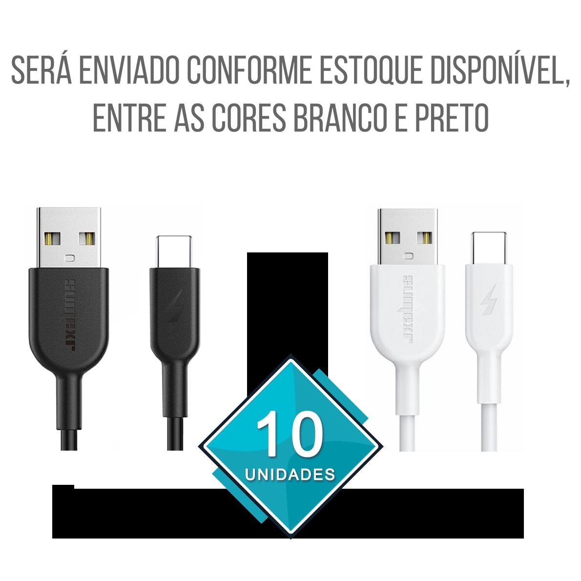 Kit 10x Cabo para Celular USB Tipo-C 2.4A 1 Metro Emborrachado e Resistente Sumexr SS-A1C