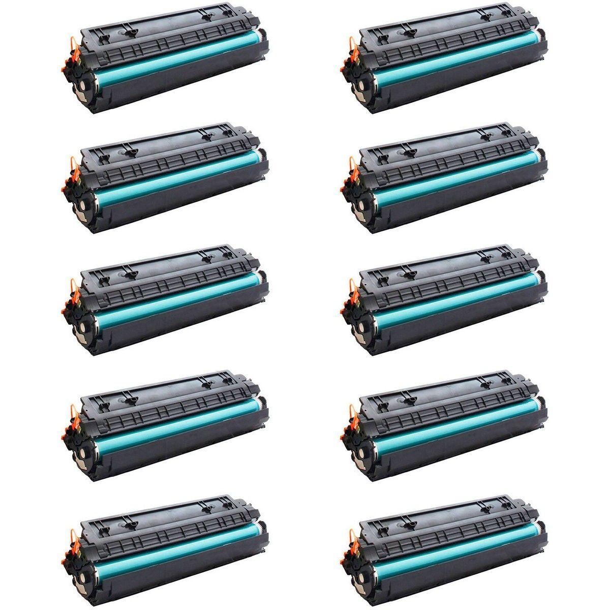 Compatível: Kit 10x Toner CB435A CB436A CE285A para HP P1102w P1102 P1109w M1132 M1120 M1522 1102w / Preto / 1.800