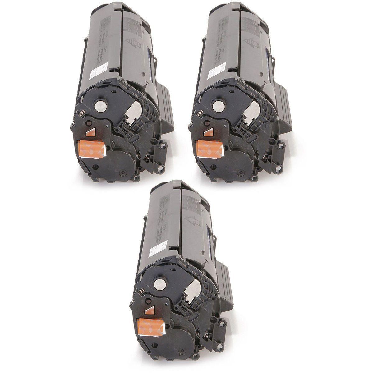 Compatível: Kit 3x Toner 2612 12A para HP 1012 1020 1022 1022n 1022nw 3015 3020 3050n 3052 3055 M1005 / Preto / 2.000