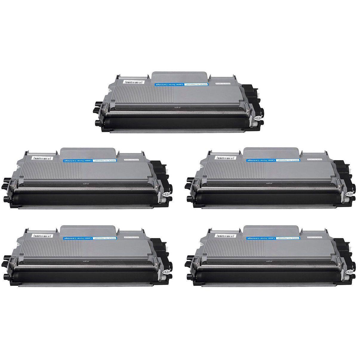 Compatível: Kit 5x Toner TN-410 TN-420 TN-450 para Brother DCP7055 DCP7060 DCP7065 7065dn 7460dn HL5350 / Preto / 2.600