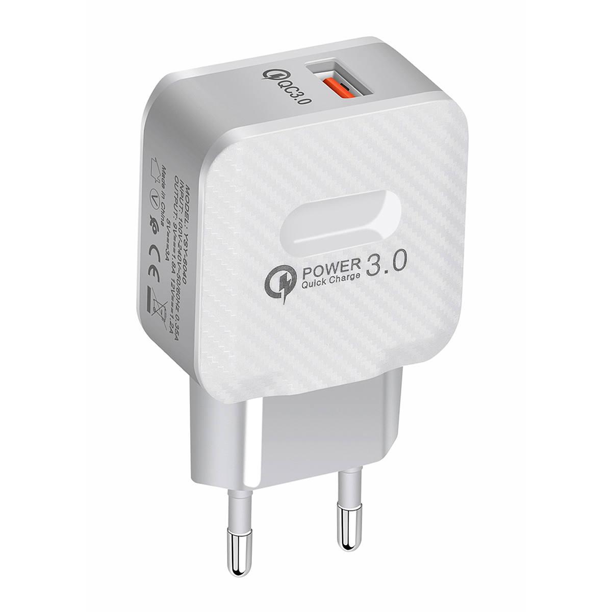 Kit Carregador USB de Viagem 3A Carga Rápida + Cabo Micro USB V8 Sumexr SX-QC3-V8 Branco
