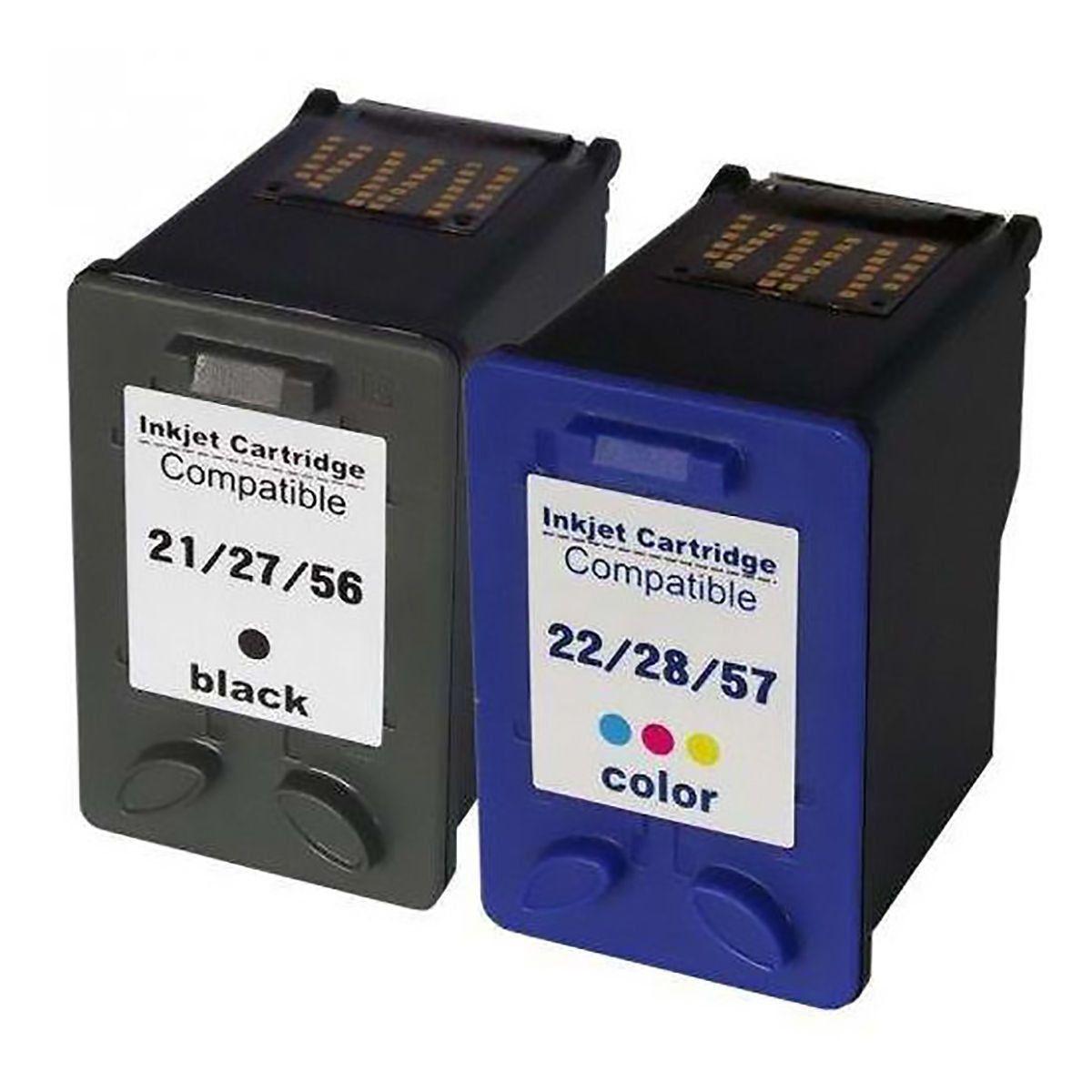 Compatível: Kit Colorido de Cartucho de Tinta 21 27 56 e 22 28 57 para Impressora HP F4180 F380 J3680 D2360 D2460 3910