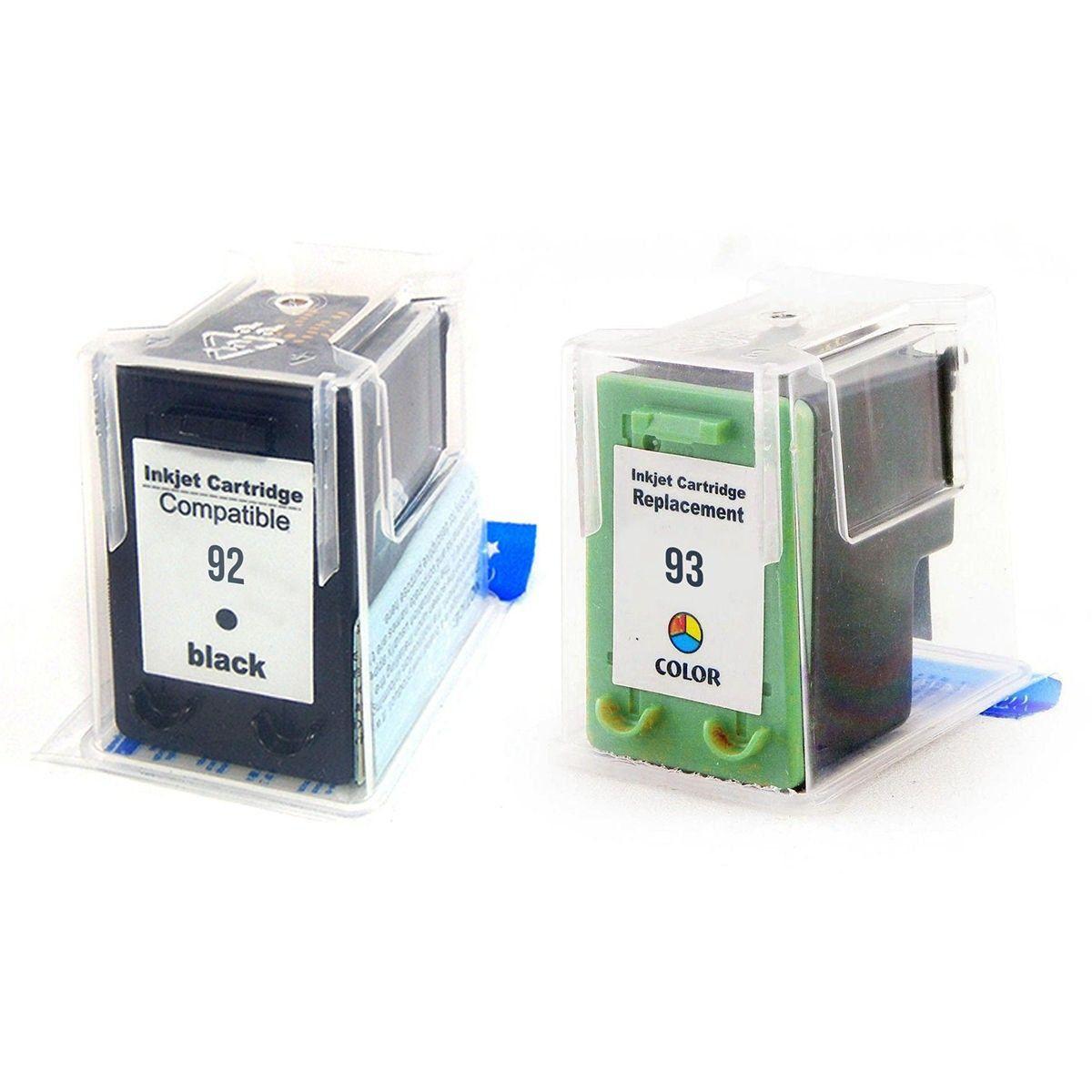 Compatível: Kit Colorido de Cartucho de Tinta 92 e 93 para HP PSC1510 C3180 C3100 D4100 1507 5440 2570 1510 3180