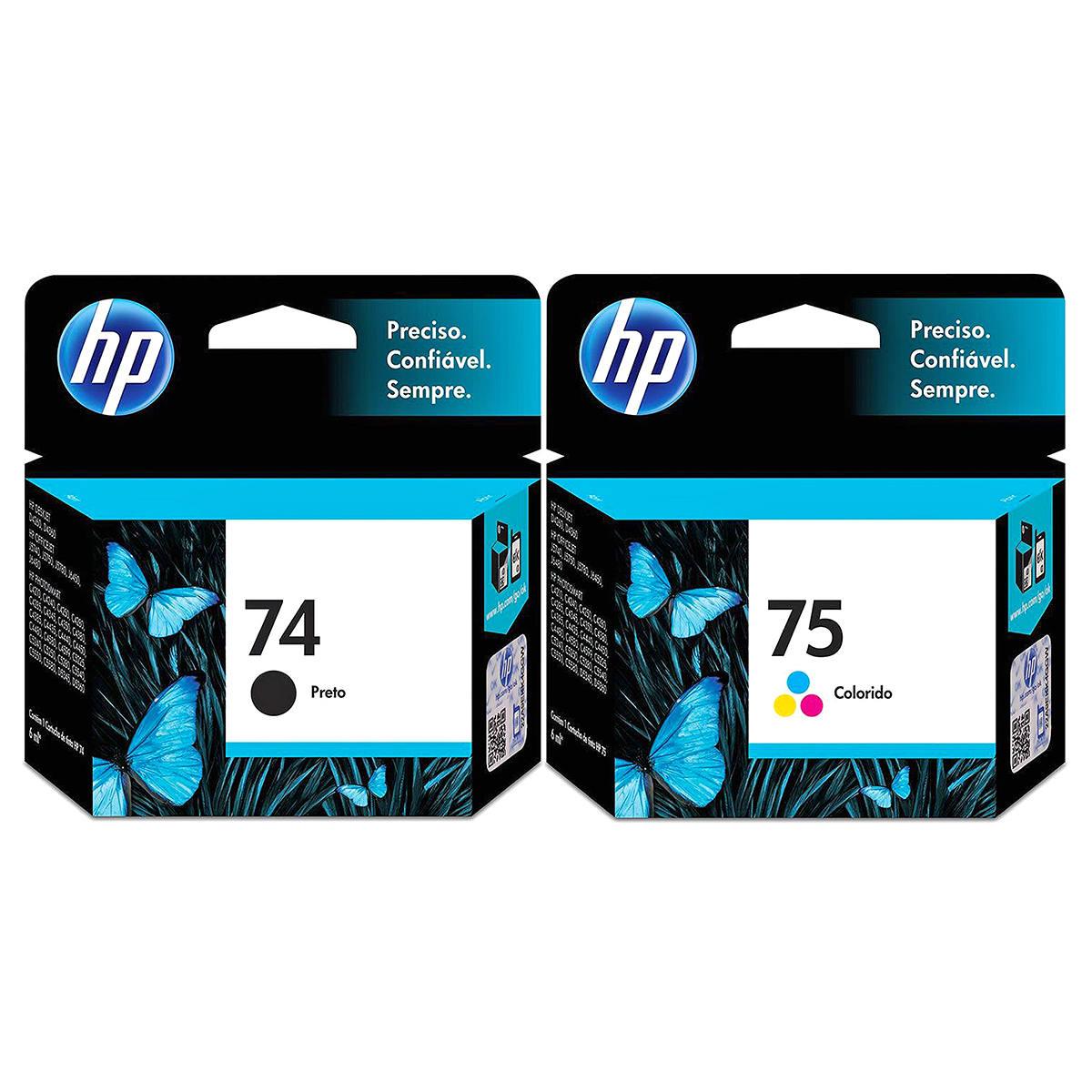 Kit Cartucho de Tinta HP 74 Preto + 75 Colorido para HP Photosmart C4280 C4480 C5280 C4424 Officejet J6424 Original