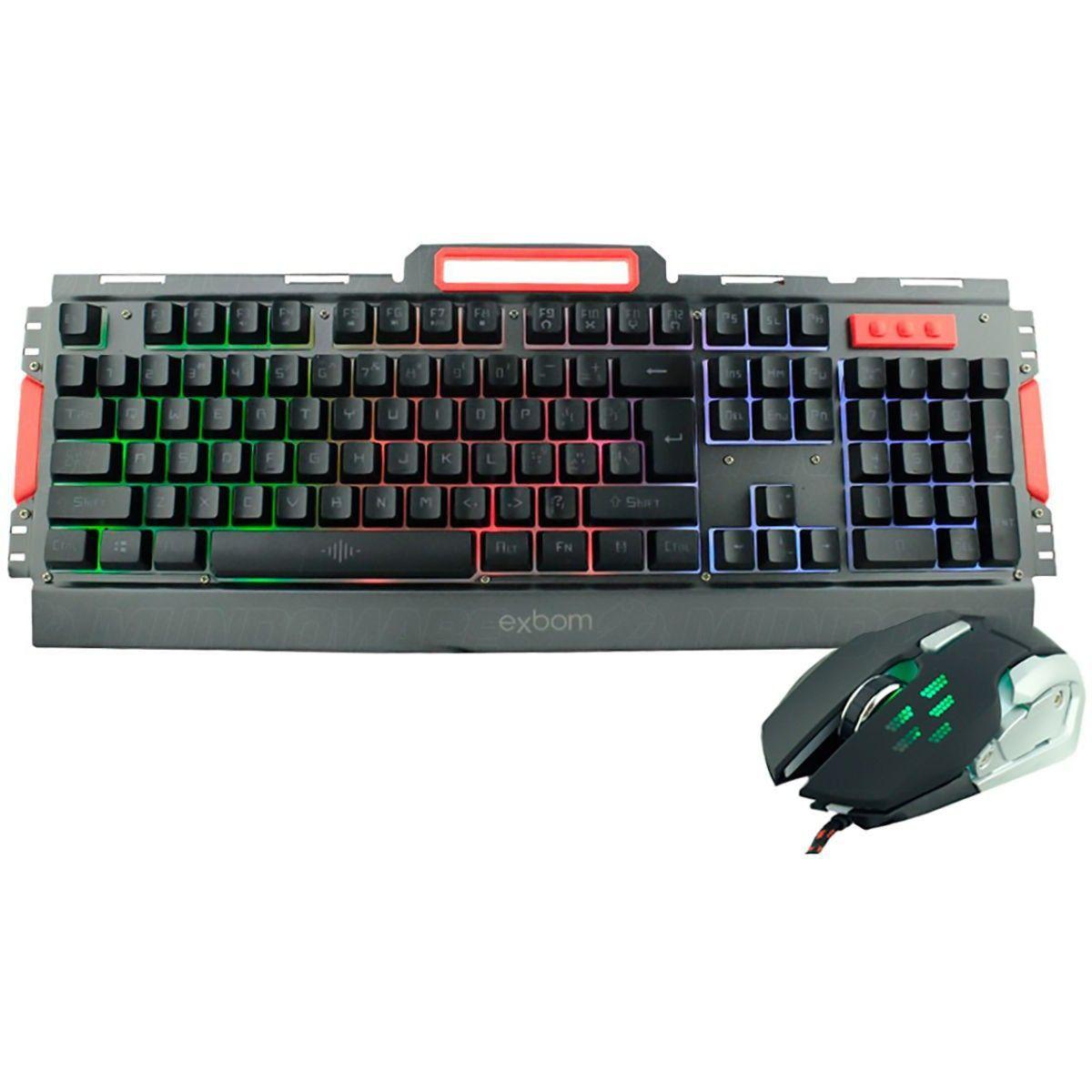 Kit Gamer Teclado e Mouse Semimecânico com Iluminação Led e Acabamento em Metal Exbom BK-G3000