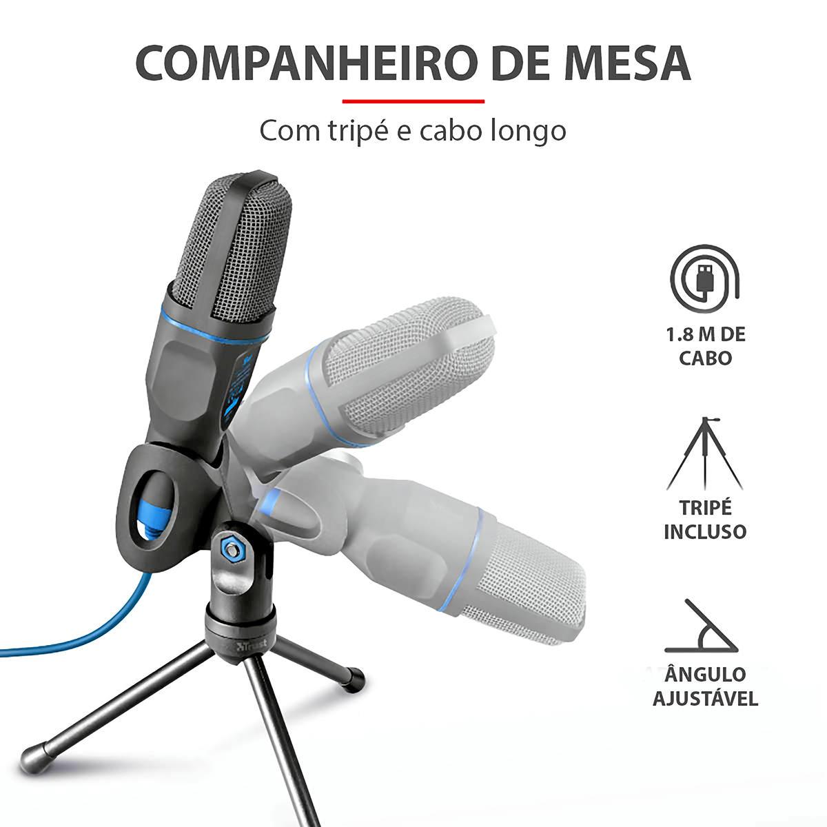 Microfone Condensador para PC e Notebook com Ângulo Ajustável Tripé de Mesa Adaptador USB Trust Mico Blue