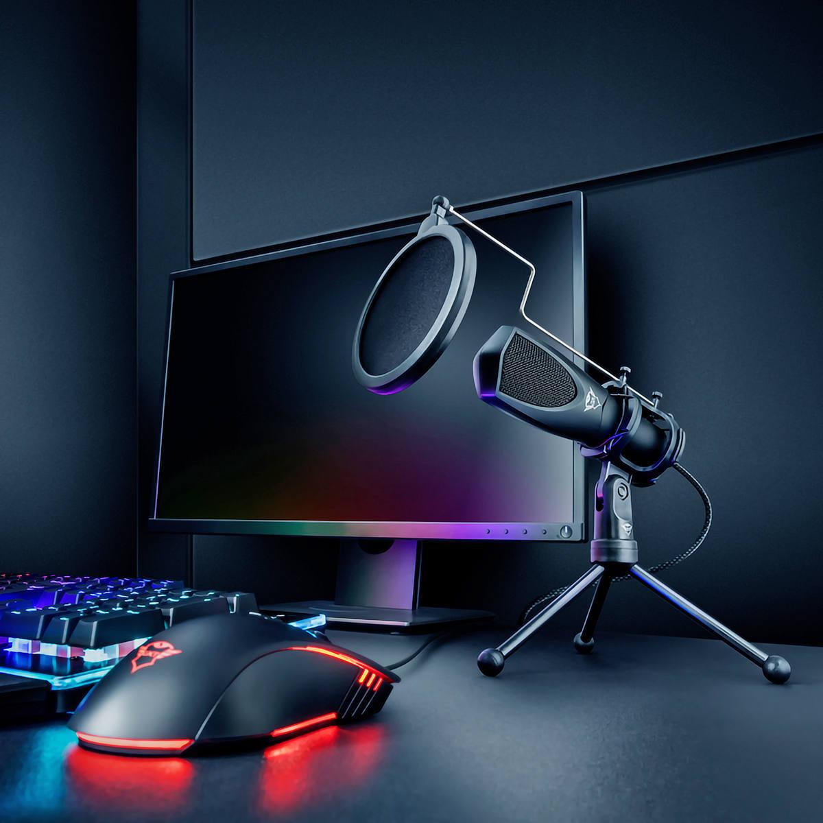 Microfone Mantis para Streaming Twitch Podcast Vlog com Tripé Ângulo Ajustável Cabo USB 1.5m Trust GXT 232