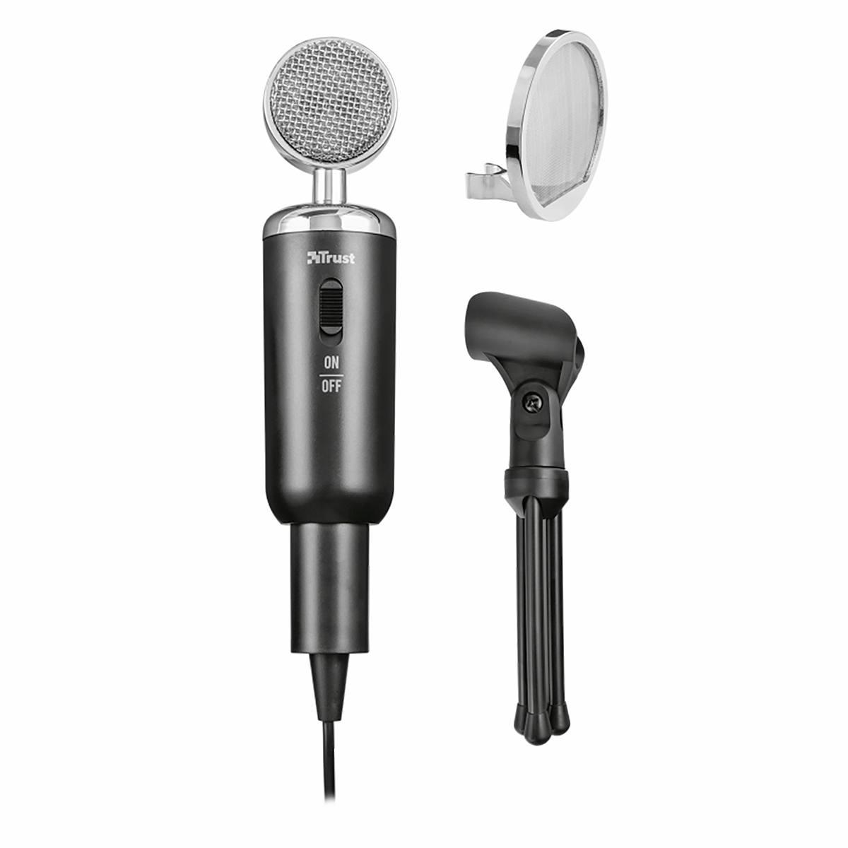 Microfone para PC e Notebook de Alto Desempenho com Tripé Filtro Pop Estilo Vintage Trust Madell