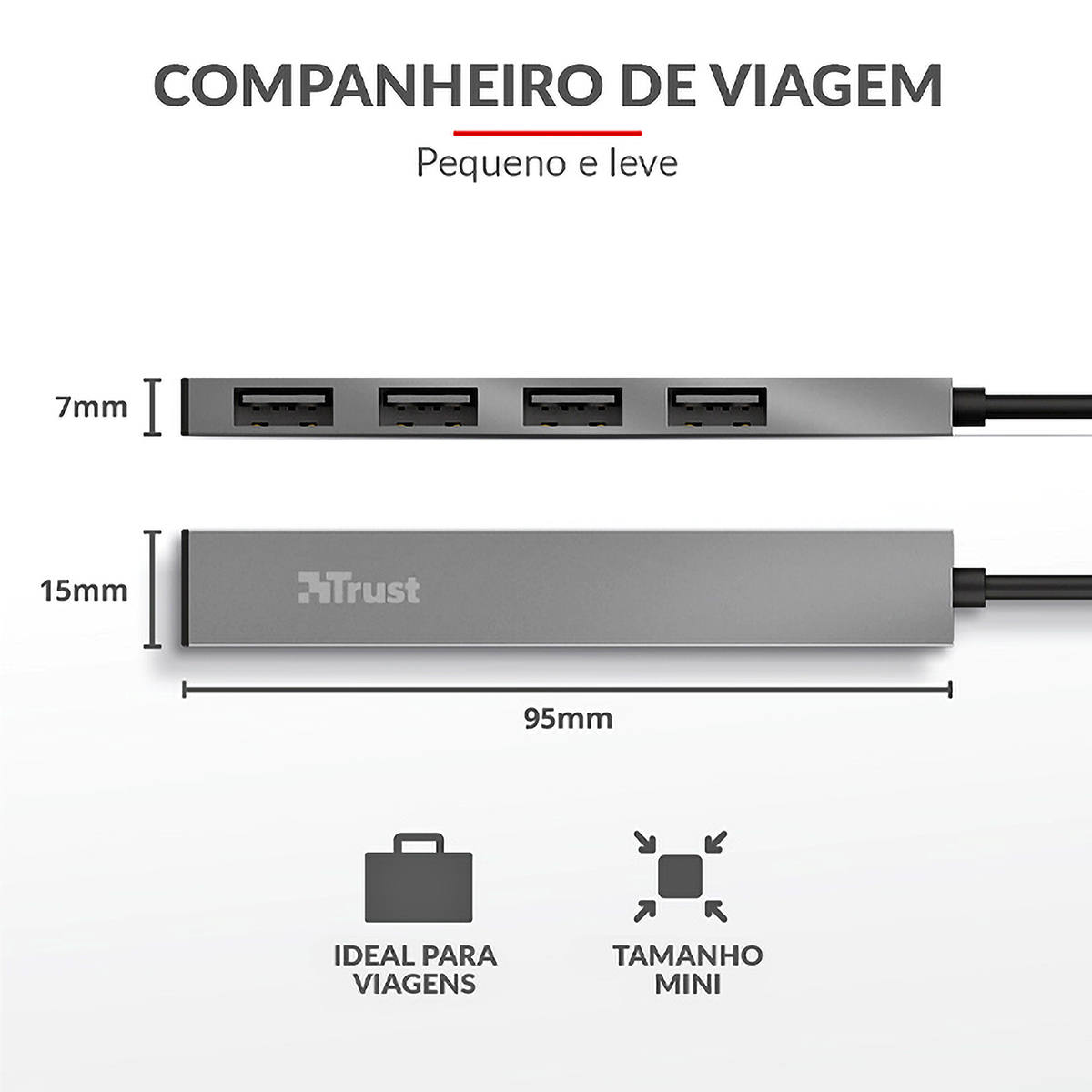 Hub USB 4 Portas 2.0 Ultra Compacto em Alumínio Trust Mini Halyx