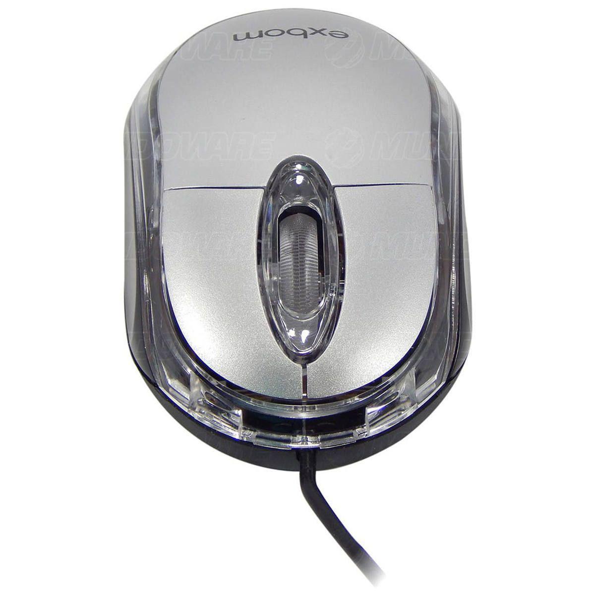 Mini Mouse USB 1000dpi Óptico LED Azul com Scroll Exbom MS-10 Prata
