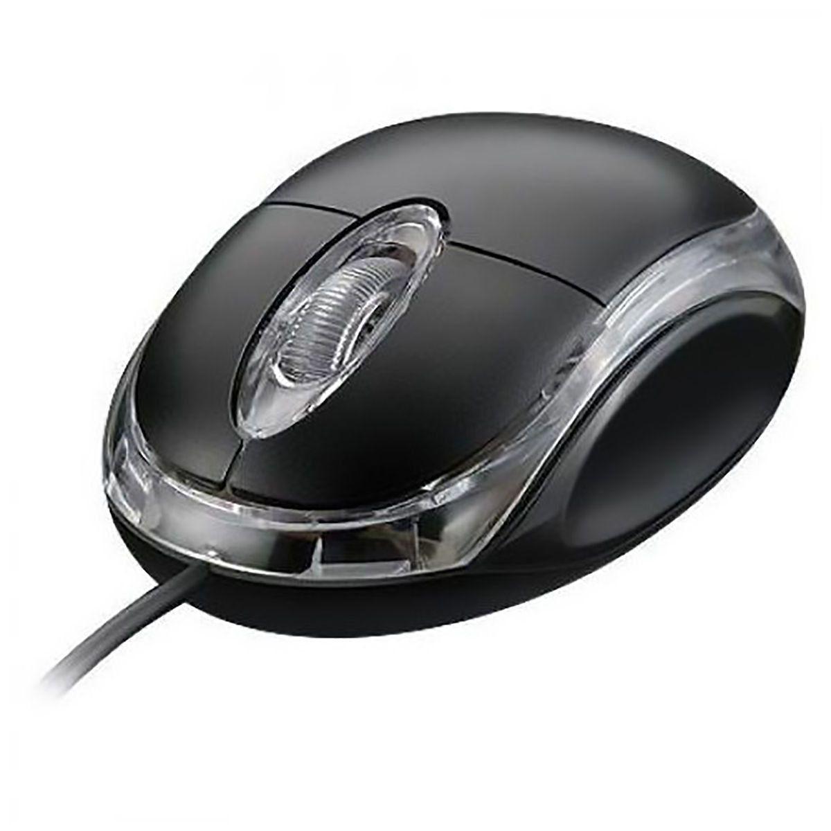 Mini Mouse Com Fio USB 1000dpi Óptico Borda Transparente com LED Exbom MS-10 / MS-9 Preto