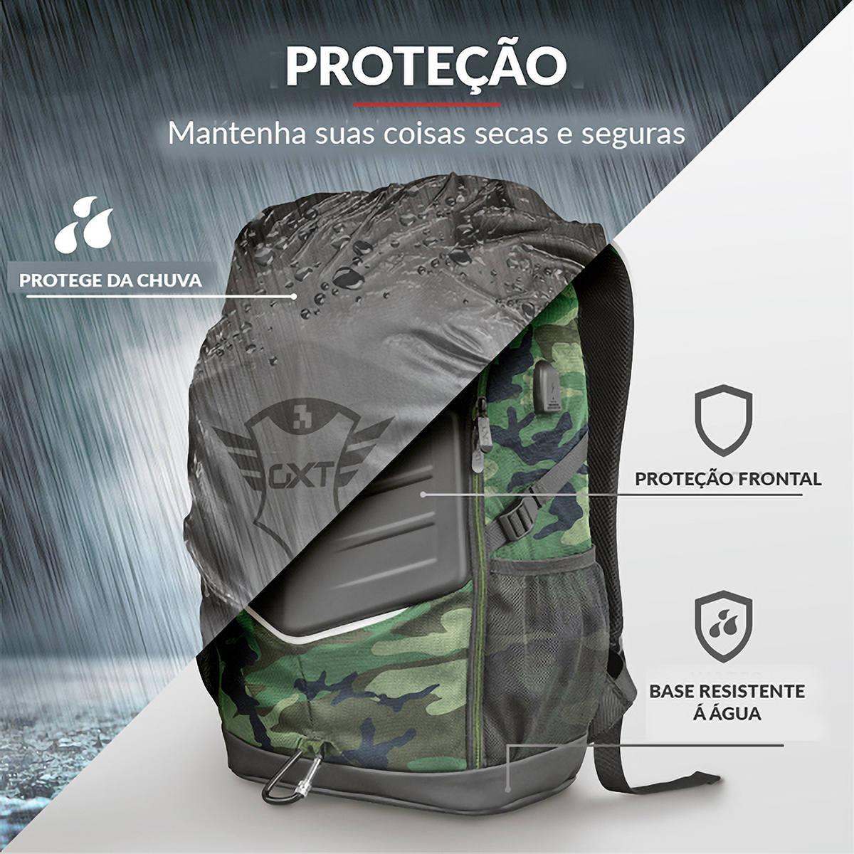 Mochila para Notebook 15,6 Frontal Reforçada Vários Compartimentos Porta USB Capa de Chuva Trust GXT 1255 Outlaw Camo