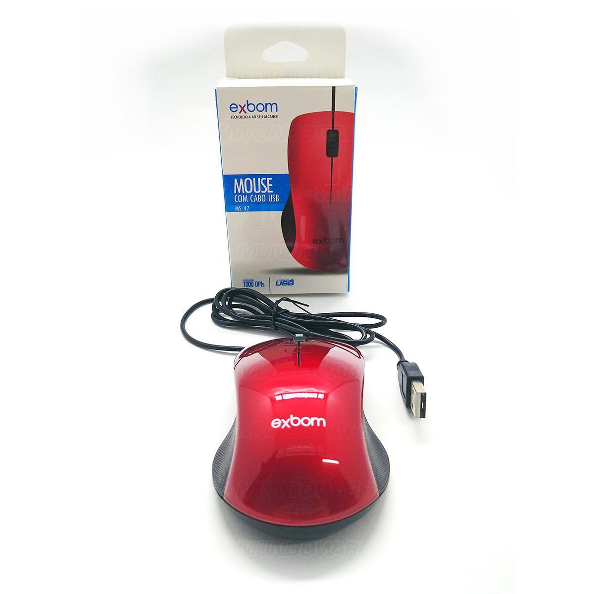 Mouse com cabo USB 1000DPIs Exbom MS-47 Vermelho com Acabamento Brilhante