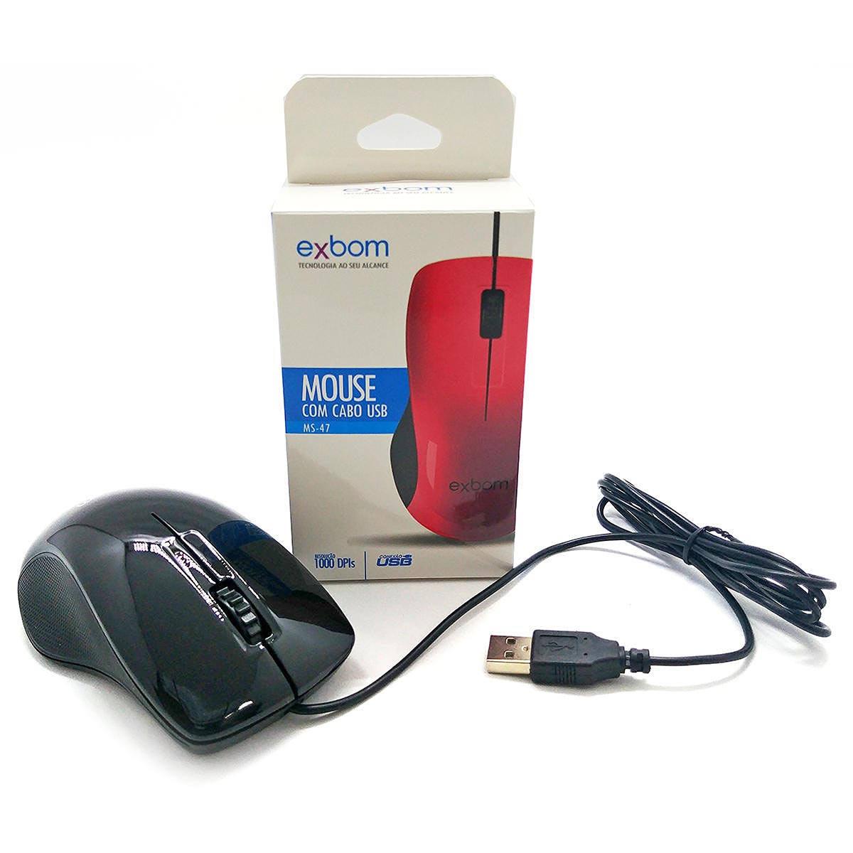Mouse com cabo USB 1000DPIs Exbom MS-47 Preto com Acabamento Brilhante