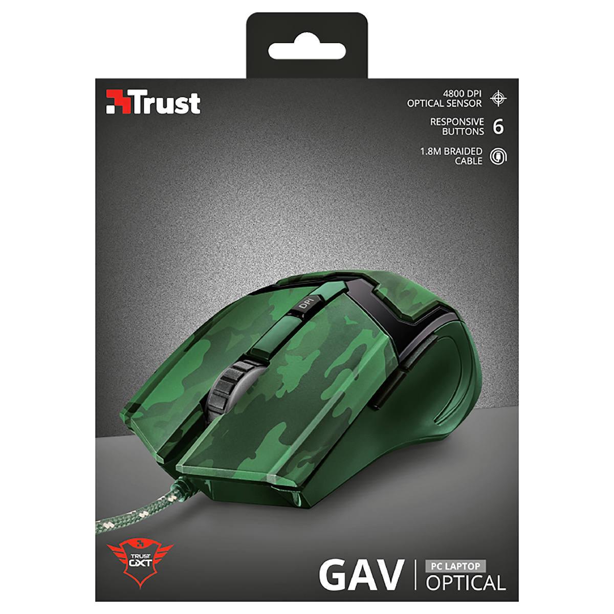 Mouse Gamer 6 Botões DPI Ajustável até 4800 Cabo 1.8m Precisão para Jogos Trust GXT 101C GAV Jungle Camo