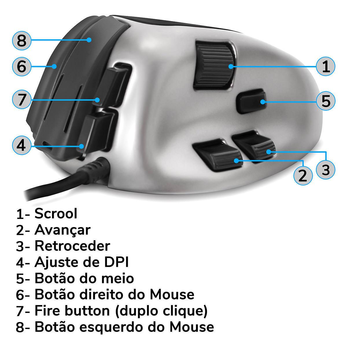 Mouse Gamer 7 Botões Ultra-Fast 1ms Double Fire Pegadas Claw Grip e Fingertip Adamantiun Weapon X ADX-500
