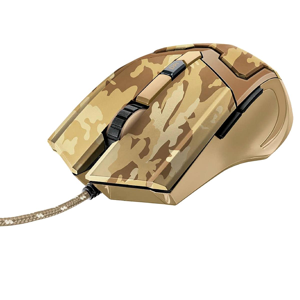Mouse Gamer com Fio 4800 DPI Precisão para Jogos 6 Botões Trust GXT 101D GAV Desert Camuflado