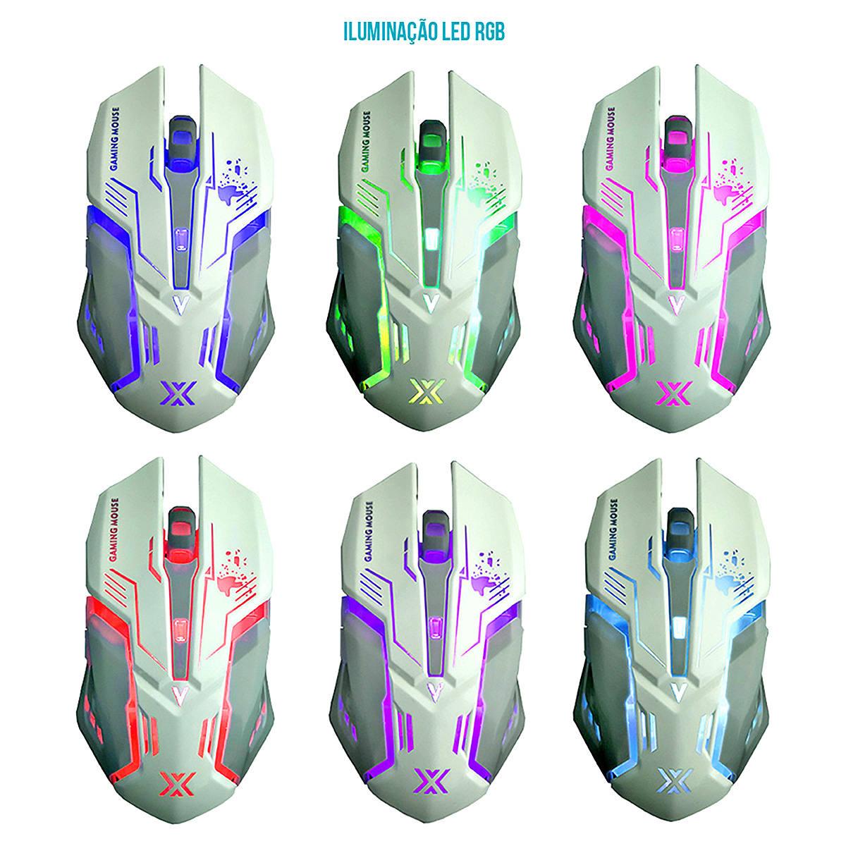 Mouse Gamer USB 3200dpi Iluminação LED RGB 6D X Soldado Infokit GM-600 Branco
