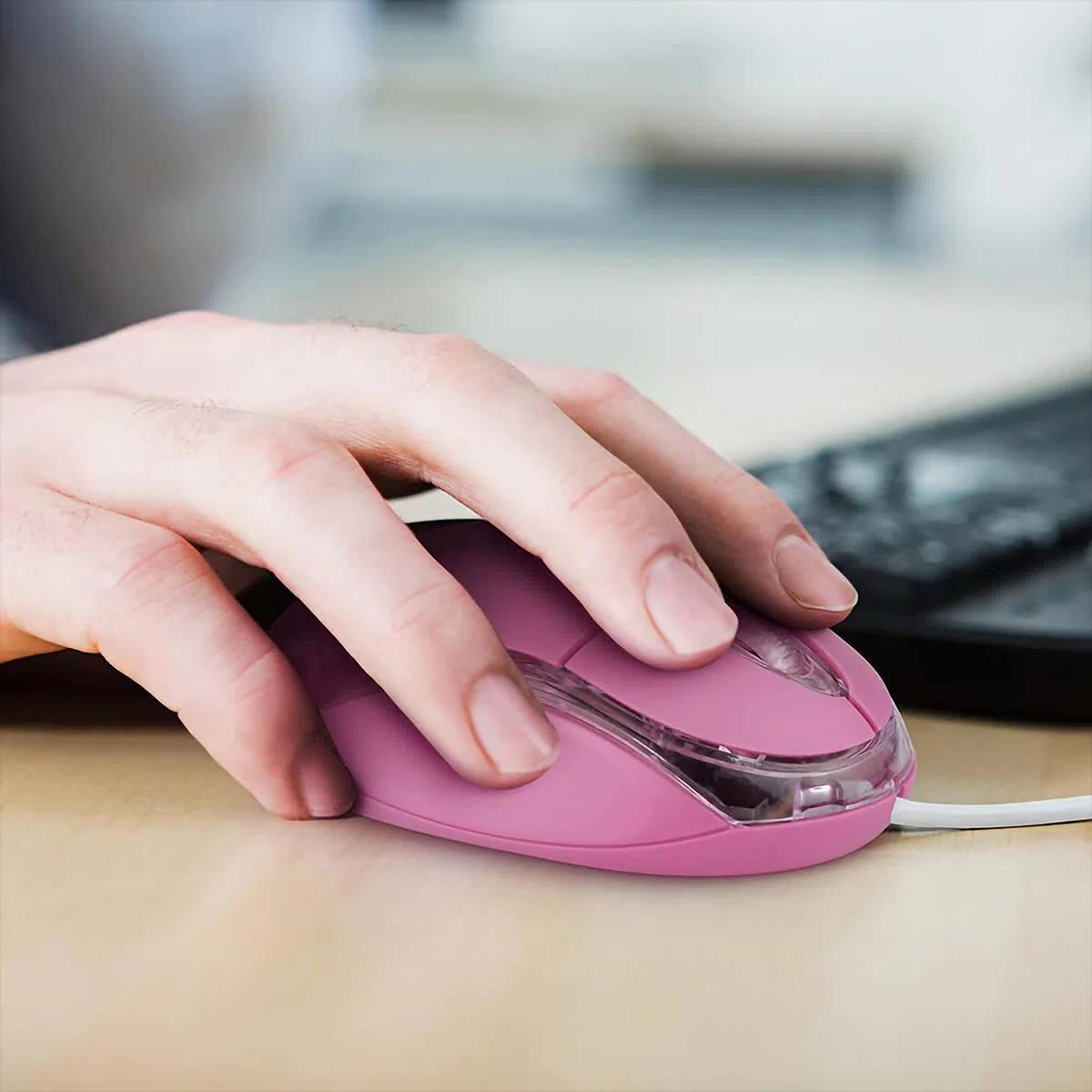 Mouse Óptico com Fio 1200DPI Compacto Classic Box USB Multilaser MO181 Rosa