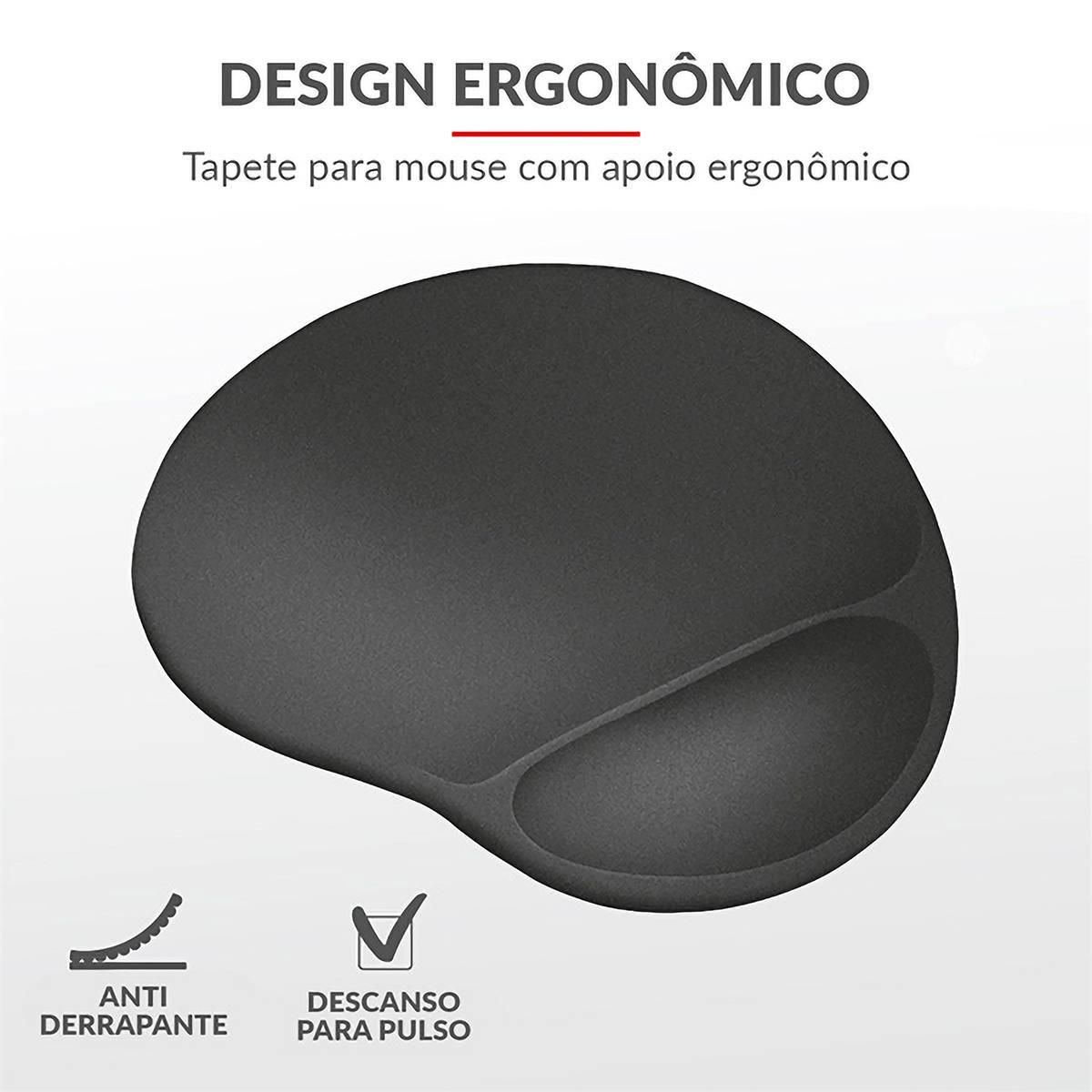 Mouse Pad BigFoot com Apoio para Pulso em Gel Extragrande XL 255x295mm Ergonômico Trust GXT 761 Mousepad Preto