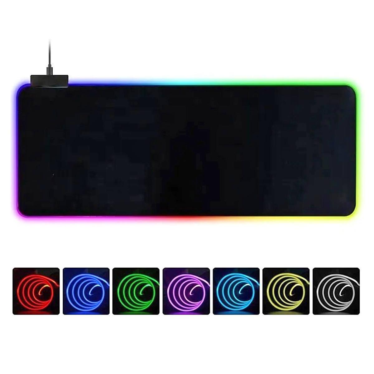 Mouse Pad Gamer 800x300x3mm Iluminação LED nas Bordas com 14 Modos Espectro Backlighting USB Power Exbom MP-LED3080
