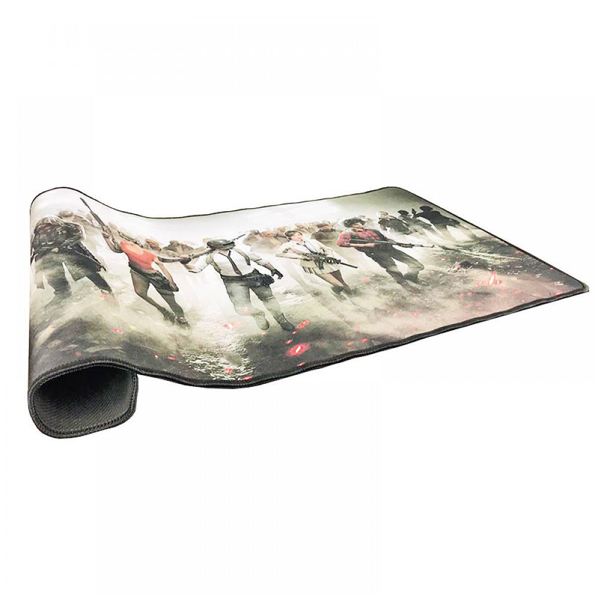 Mouse Pad Gamer Extra Grande 700x350x3mm Base Antiderrapante e Bordas Costuradas Exbom 7035 PU Battle